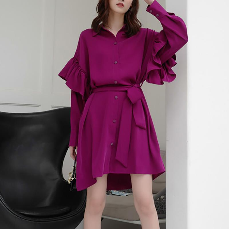 Fashion Ruffled Square Neck Bishop Sleeve Mini Dresses