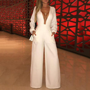 Fashion Pure Colour Splicing Wide Leg Jumpsuit
