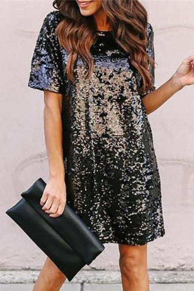Fashion Sequins Round Neck Short Sleeve Mini Dresses
