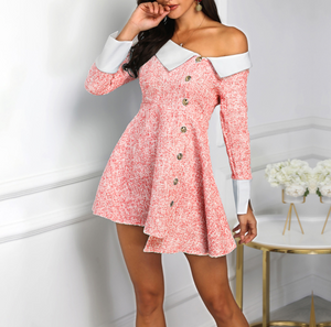 Fashion Sloping Shoulder Turndown Collar Mini Dresses