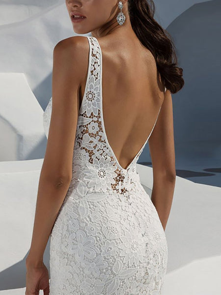 Sexy Lace Sleeveless Bare Back Slim Maxi Dresses