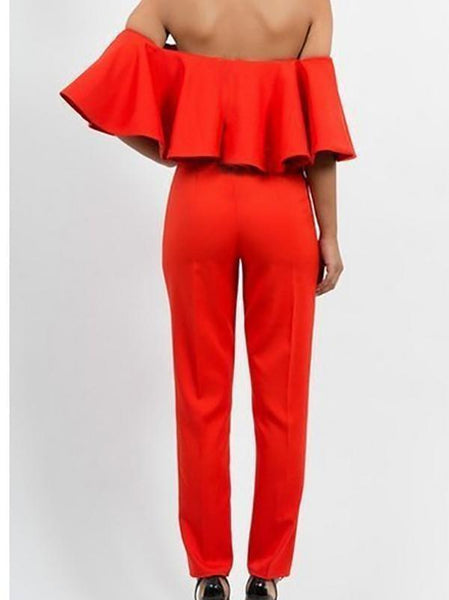 Fashion Boat Neck Off-Shoulder Ruffled Jumpsuits
