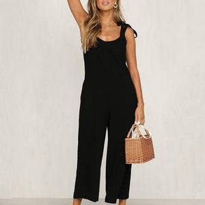 Fashion V Neck Sling Pure Colour Sleeveless Jumpsuits