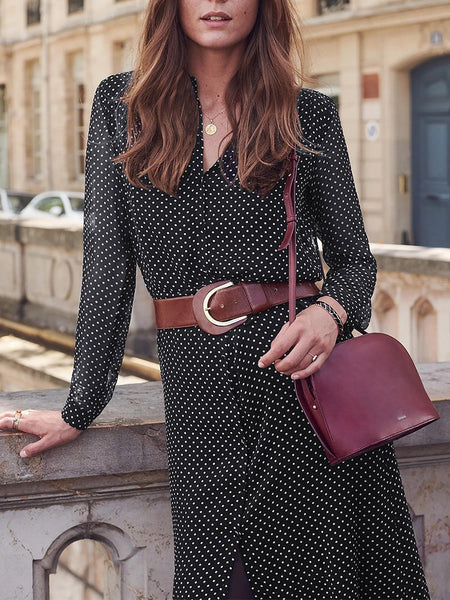 Fashion Polka Dot Chiffon Long Sleeve Casual Dresses