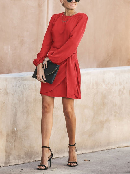 Fashion Round Neck Belted Pure Colour Mini Dresses