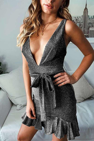 Sexy Deep V Sleeveless Ruffled Mini Dresses