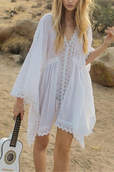 Bohemian V Collar Lace Patchwork Solid Color Bat Sleeve Casual Dress