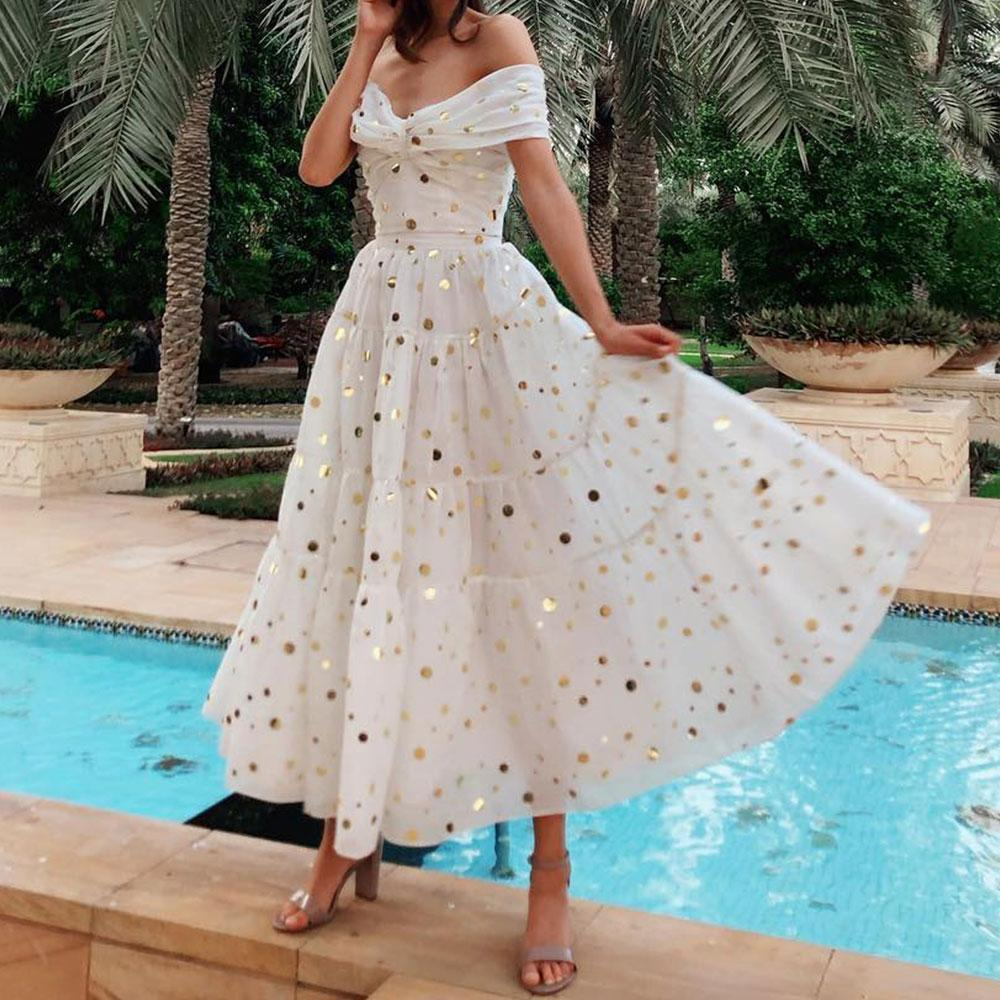 Sexy V-Neck Maxi Vacation Dress With A Shimmering Dot Pattern