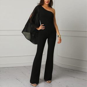 Casual Sexy  Off The Shoulder Single Sleeve Pure Color   Bell Bottoms Jumpsuit