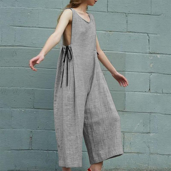 Casual Round Neck Pure Colour Sleeveless Jumpsuits