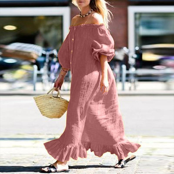 Casual Boat Neck Off-Shoulder Pleated Jumpsuits