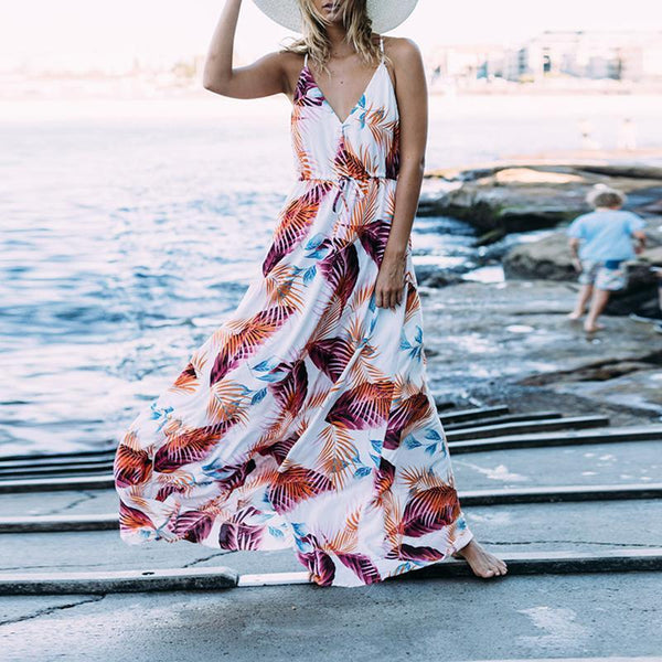 Bohemian Printed Colour Pleated Sleeveless Dress