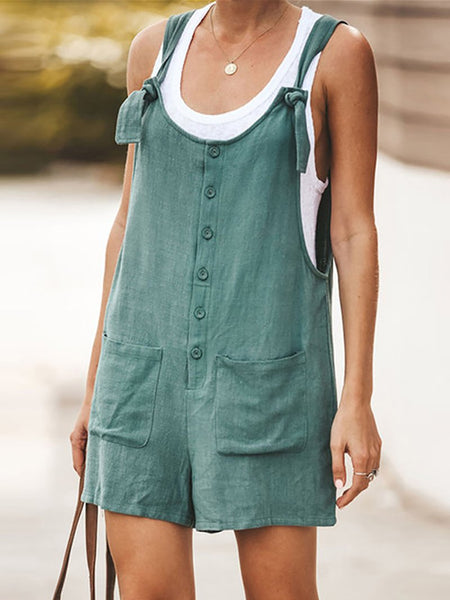 Casual Sleeveless Bare Back Patch Pocket Jumpsuits