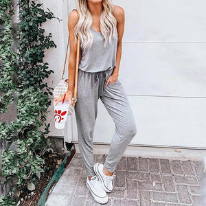 Fashion Round Neck Vest Pure Colour Jumpsuits