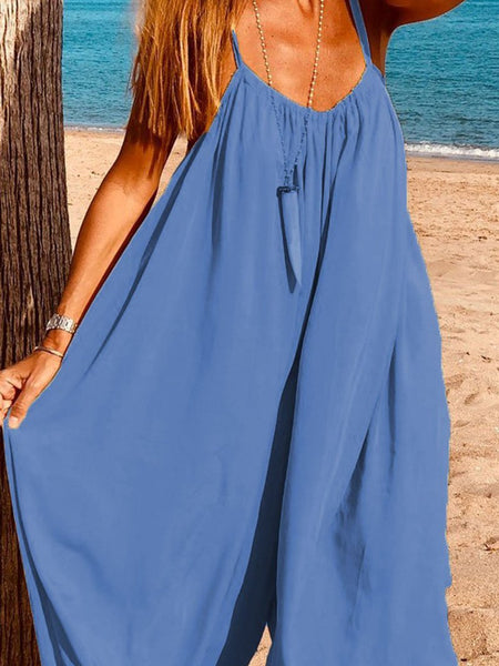 Casual Off-Shoulder Bare Back Sleeveless Pleated Jumpsuits