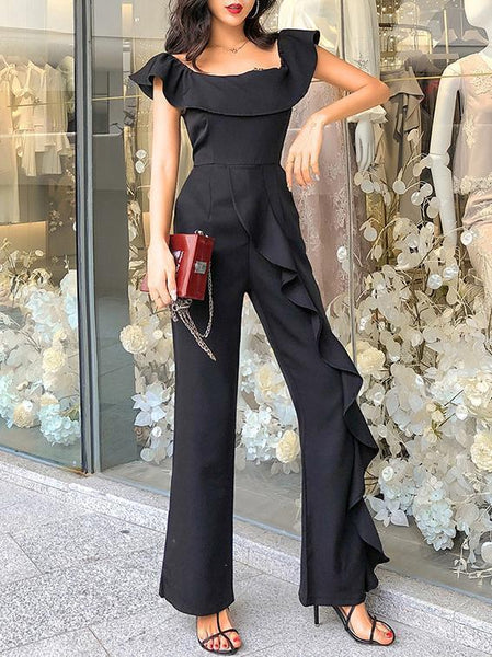 One-Shoulder Slim Body Wide Leg Pants
