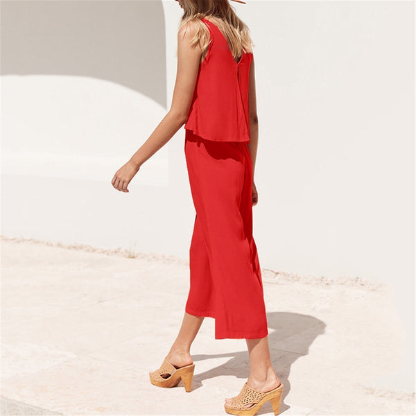 Daily Solid Color Sleeveless Loose Casual Jumpsuits