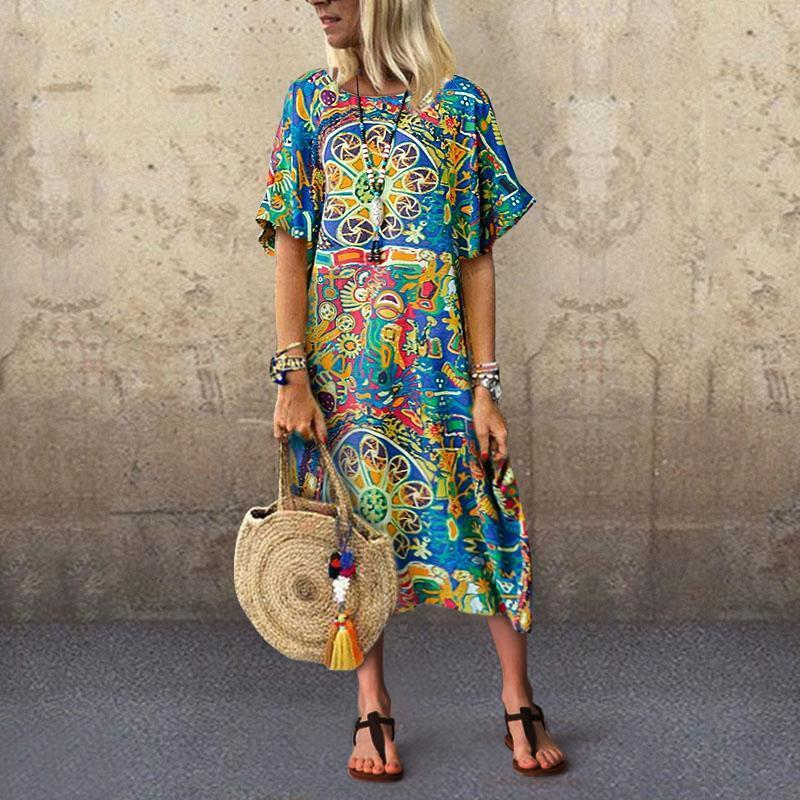 Fashion Round Collar Long Sleeve Print Dress