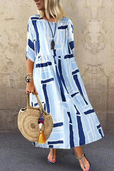 Casual Printed Colour Pleated Round Neck Dress