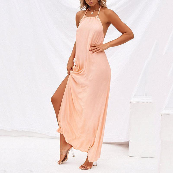Sexy Bare Back Off-Shoulder Sleeveless Pleated Dress