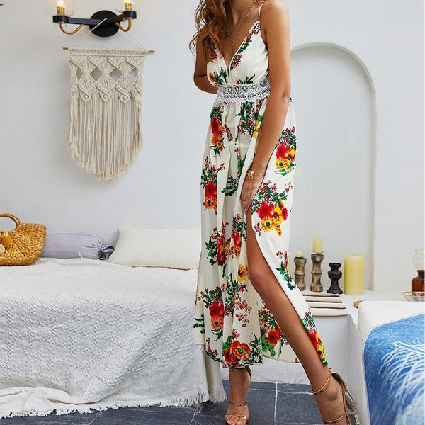 Female Sexy V-Collar Print Open Slit Sling Long Dress