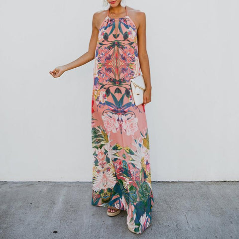 Bohemian Bare Back Off-Shoulder Sleeveless Printed Colour Jumper Skirt
