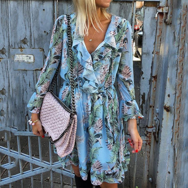 Sexy V Neck Ruffled Halflong Sleeve Printed Colour Dress