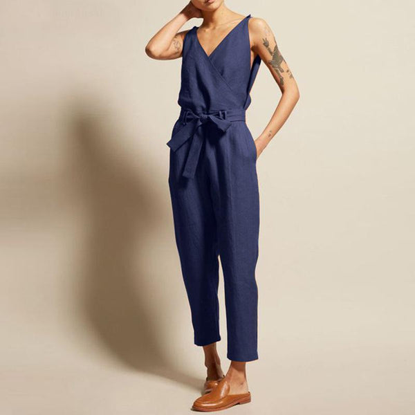 Commuting V Neck Belted Sleeveless Bare Back Jumpsuits