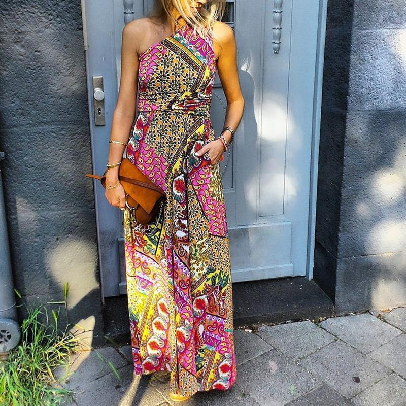 Bohemian Sloping Shoulder Printed Colour High-Waist Dress
