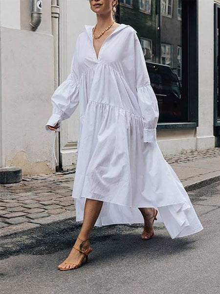 Commuting V Neck Pleated Long Sleeve Splicing Dress