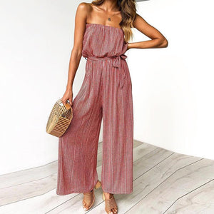 Commuting Boat Neck Belted Printed Colour Jumpsuits