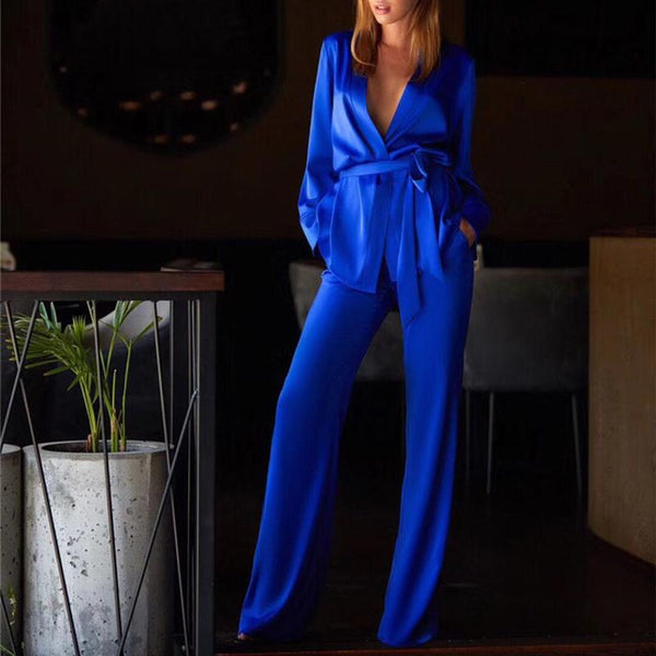 Commuting V Neck Belted Long Sleeve Pure Colour Suit