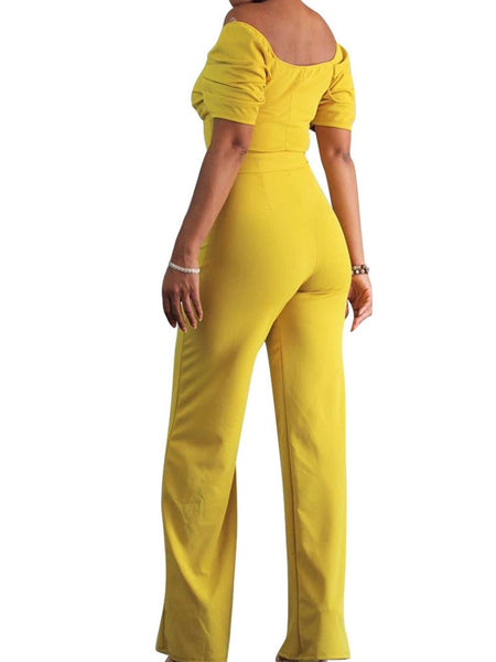 Commuting Belted High-Waist Bare Back Short Sleeve Jumpsuit