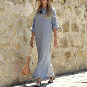 Fashion V Neck Cotton And Hemp Casual Dresses