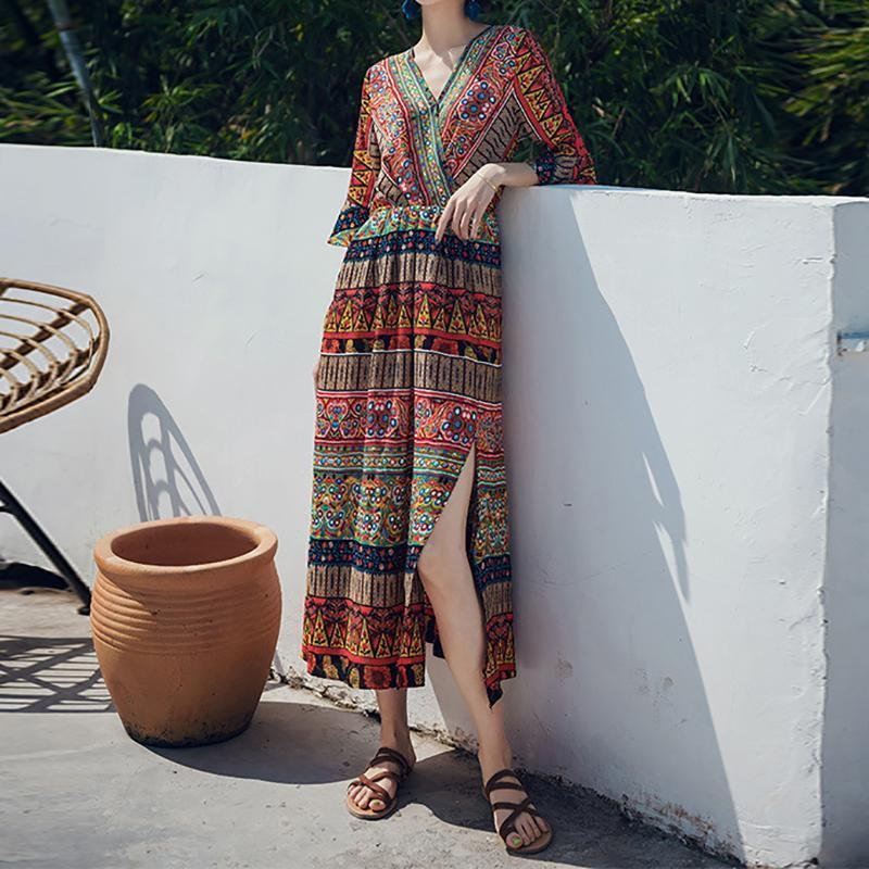 Retro Bohemian Print V Neckband Sleeved Dress