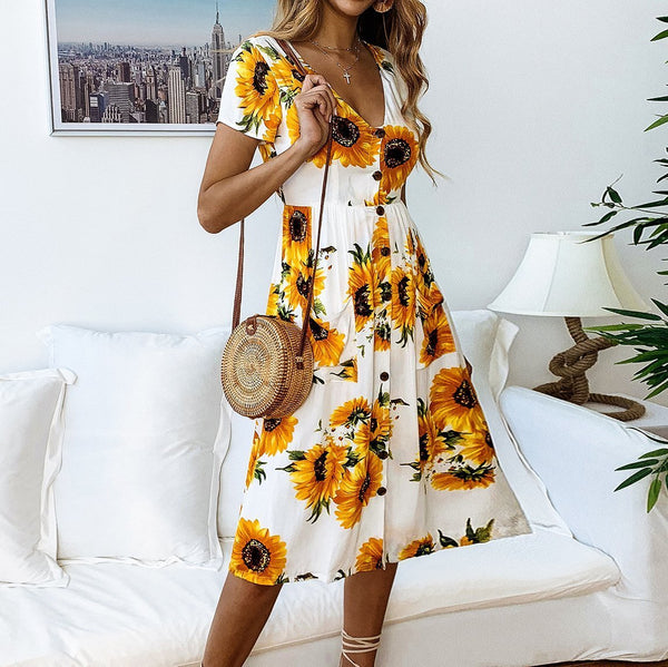 2019 Spring And Summer Fashion Printed Sunflower Button Female Dress
