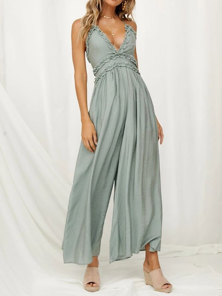 Commuting V Neck Pleated Belted Pure Colour Jumpsuit