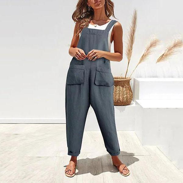 Casual Three-Dimensional Pocket   Cotton And Linen Strap Jumpsuit