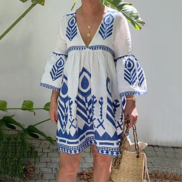 Bohemian V Neck Printed Colour Bubble Sleeves Pleated Dress