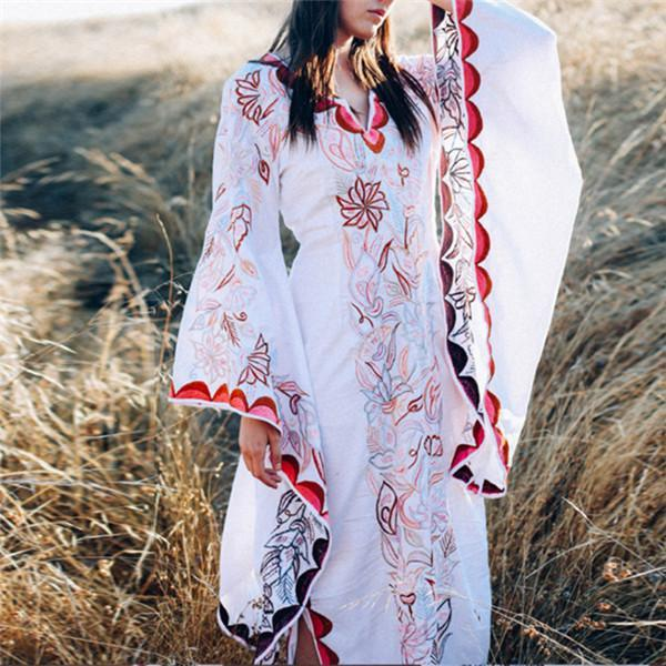 Ethnic Wind Printed V Collar Vacation Dress