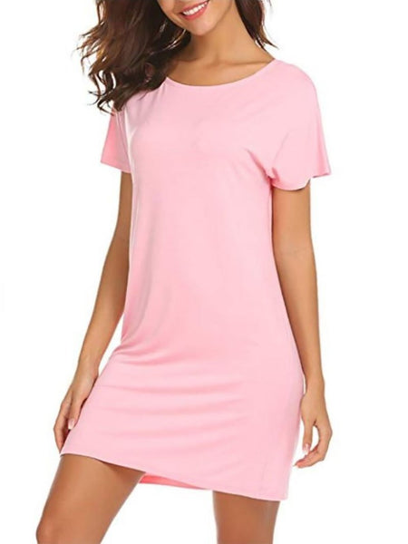 Commuting Round Neck Cross Bare Back Pure Colour Short Sleeve Dress