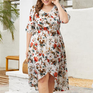 Plus Size V Collar Printed Dress