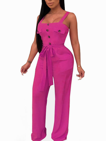 Commuting Boat Neck Sleeveless Belted Pure Colour Single-Breasted Jumpsuit