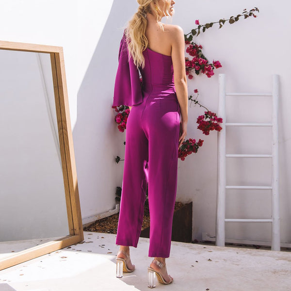 Fashion Sloping   Shoulder Irregular Bow Jumpsuit