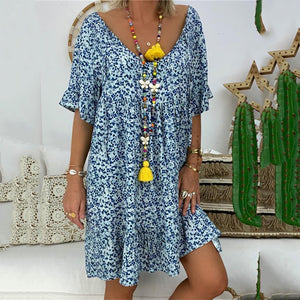 Fashion Printed Large Round Neck Long Dresses