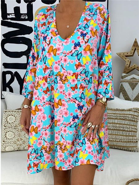 Fashion Large Size Loose V-Neck Printed Casual Dresses