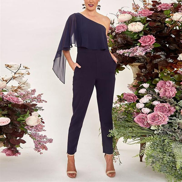 Commuting Irregular Sloping Shoulder Ruffled Pure Colour Jumpsuits