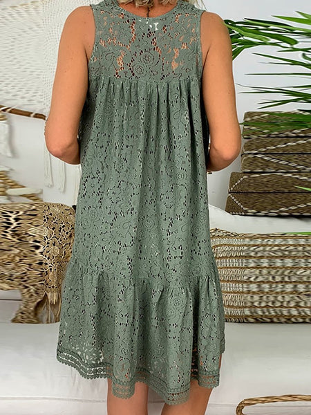 Casual V Neck Hollow Out See-Through Sleeveless Splicing Pleated Dress