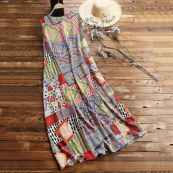 Vintage Print Floral Patch Sleeveless Crew Neck Dress
