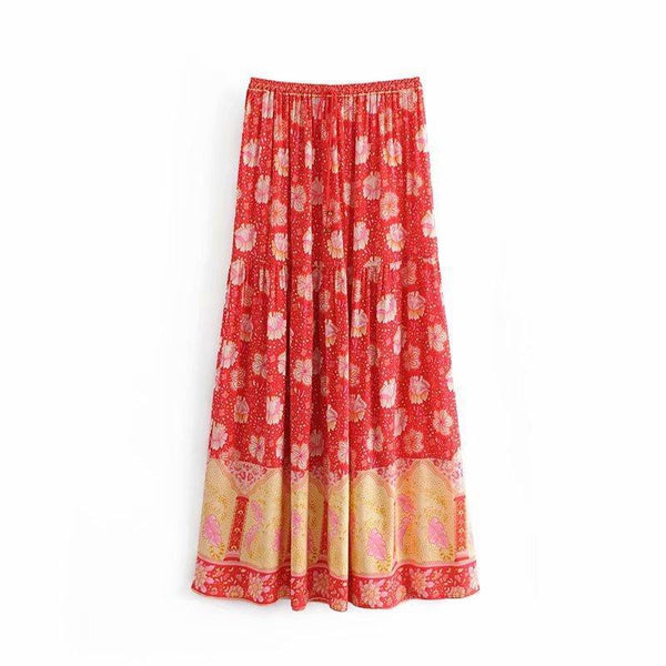 2019 Red Lilac Flower Positioning Printed Elastic Waist Large Skirt